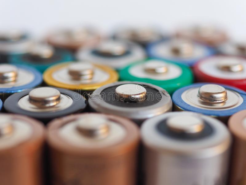 Many AA batteries. (aka Double A) for electronic devices stock image