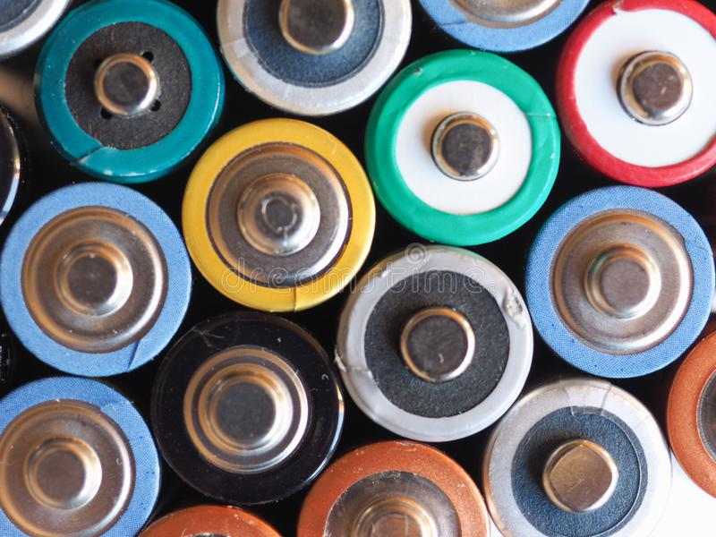 Many AA batteries. (aka Double A) for electronic devices stock images