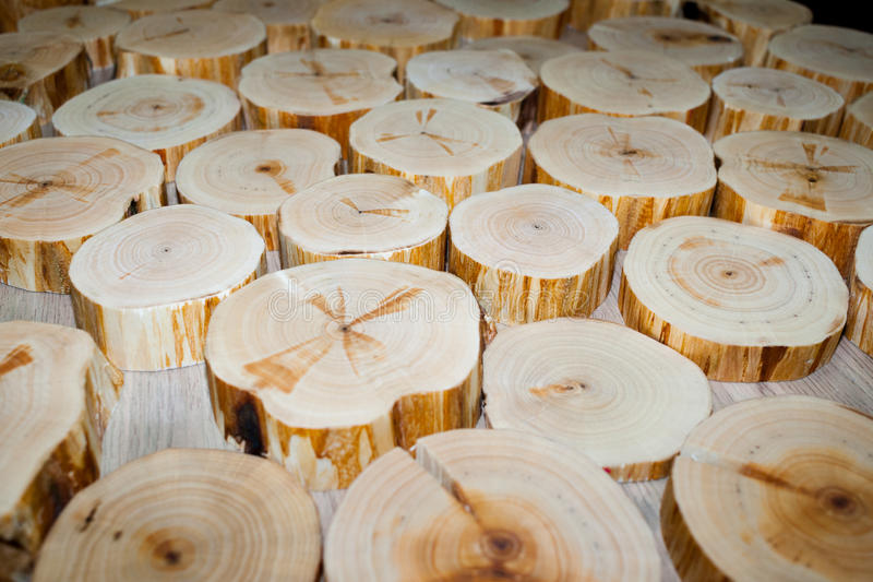 Many alder saw cuts lie on table. Selective focus. Perspective v. Many alder saw cuts of different diameters and thicknesses lie on table. Selective focus royalty free stock image