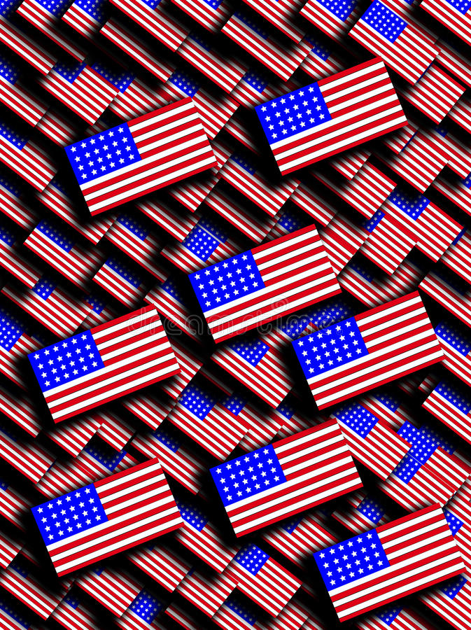 Download Many American Flags stock illustration. Image of symbolic - 9486786