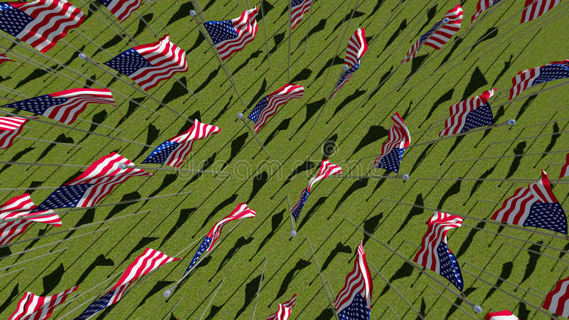 Many American flags in green field. stock illustration