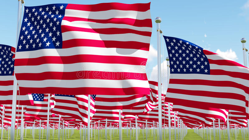 Many American Flags. royalty free illustration