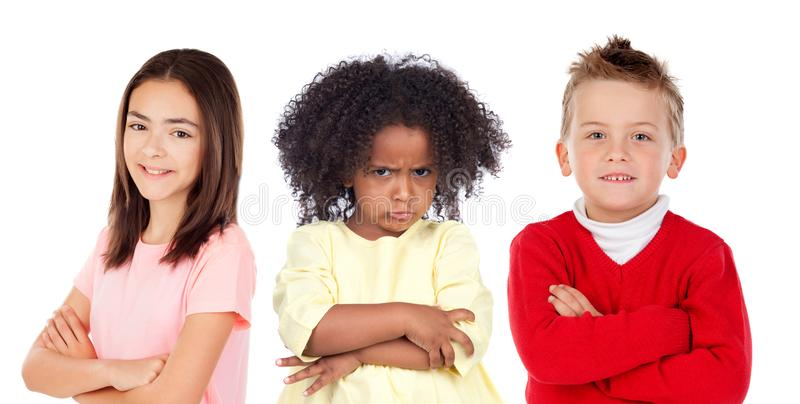 Many angry and happy children royalty free stock images