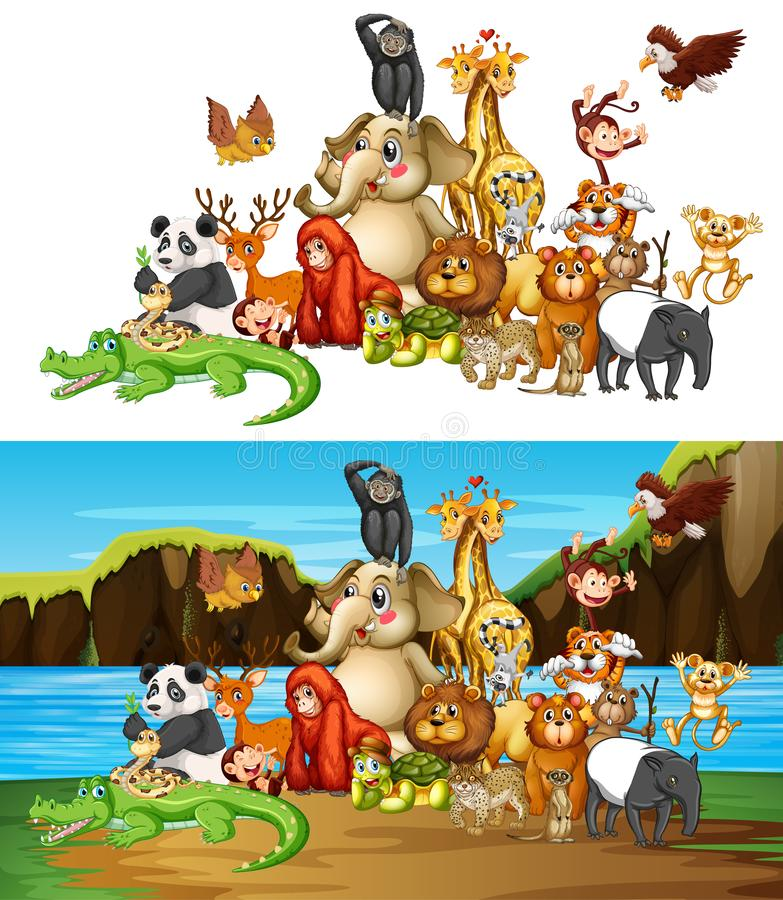 Free Many Animals On Two Different Background Stock Photos - 155174703