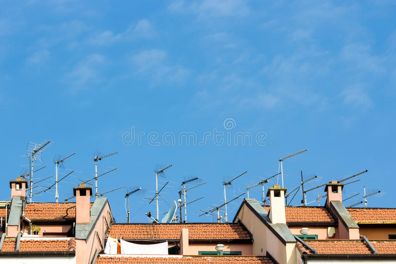 Download Many Antennas Installed On The Roof Of A Building Stock Image    Image: 26062581