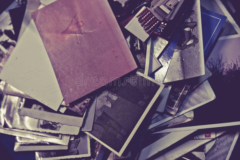 Many Antique and vintage old photos royalty free stock photography