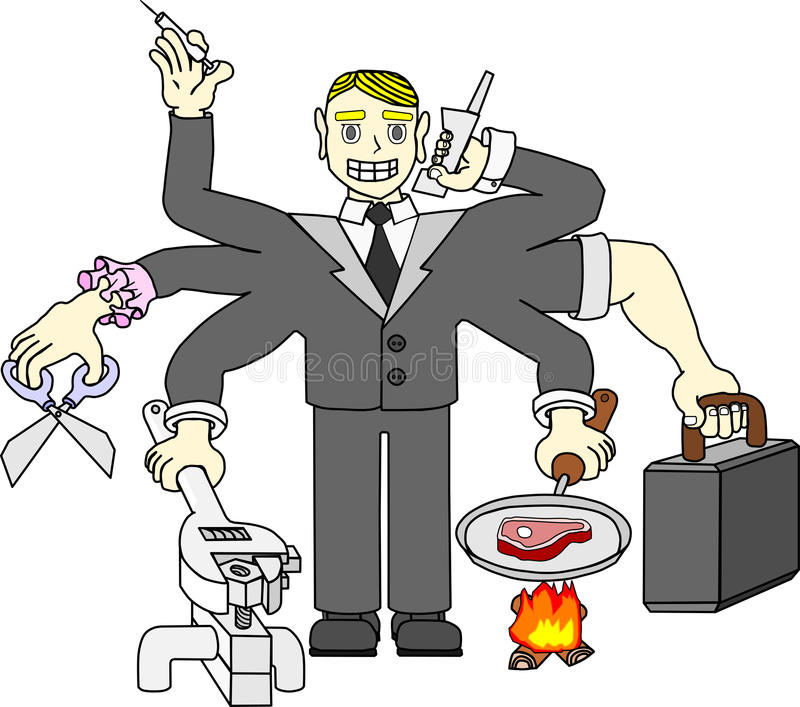 Many-armed worker royalty free illustration
