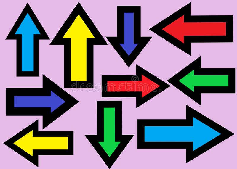 Many arrows pointing in various directions with bold black outlines and in multiple colors royalty free stock photography