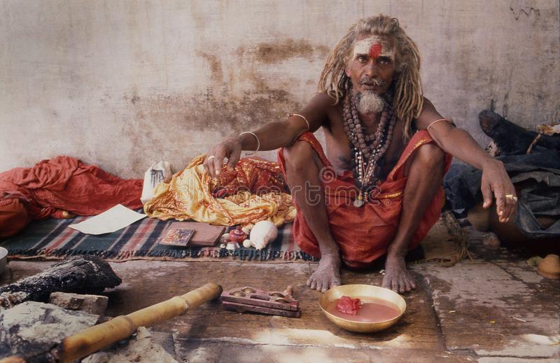 BANARAS: Saddhu in front of famous Gyanvapi Mashid. Many ascetics sadhu-s live in the places of pilgrimage everywhere in India. But who penetrate the heart of a stock images