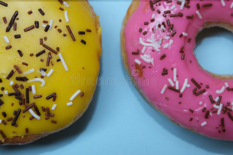 Donuts  on colorful background. Many Assorted donuts on a background royalty free stock photography