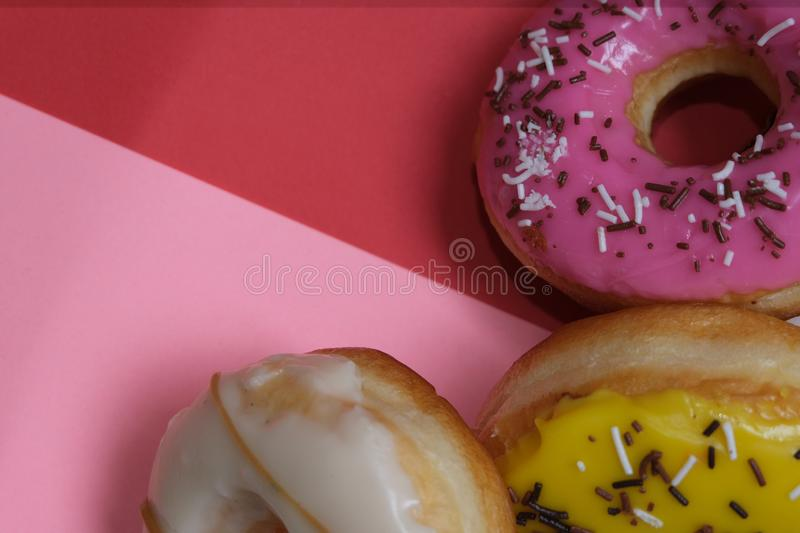 Donuts  on colorful background. Many Assorted donuts on a background royalty free stock image