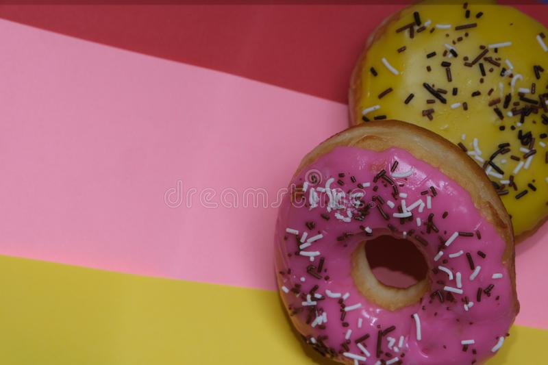 Donuts  on colorful background. Many Assorted donuts on a background royalty free stock photo