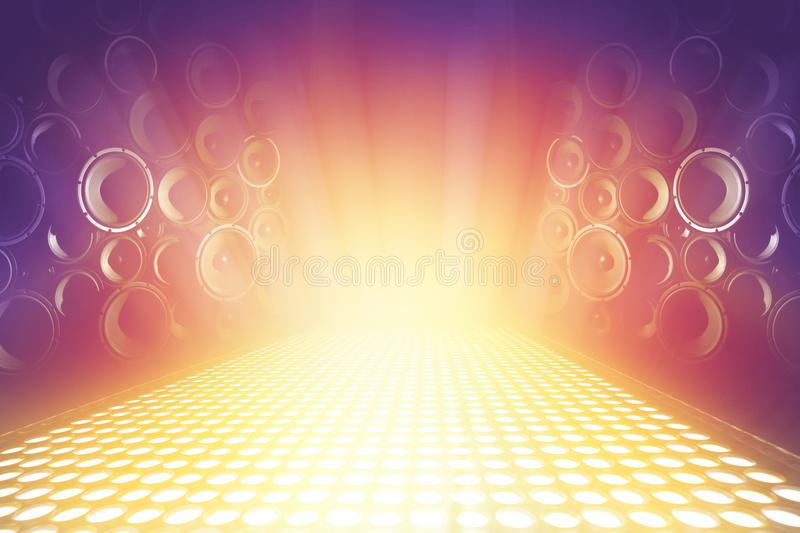 Many audio sound speakers on lighting music stage royalty free stock photography