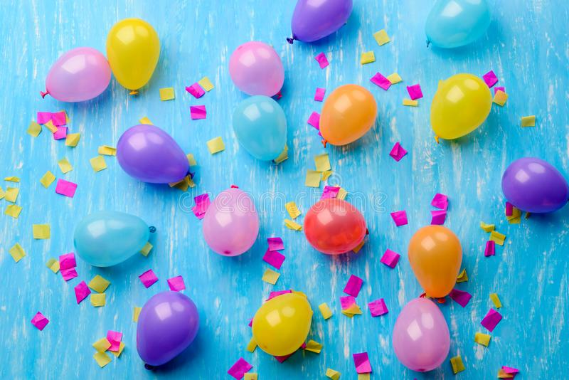 Multi-coloured baloons, screen saver. Many balloons on a blue background. Bright, multi-coloured. A screen saver or a background royalty free stock image