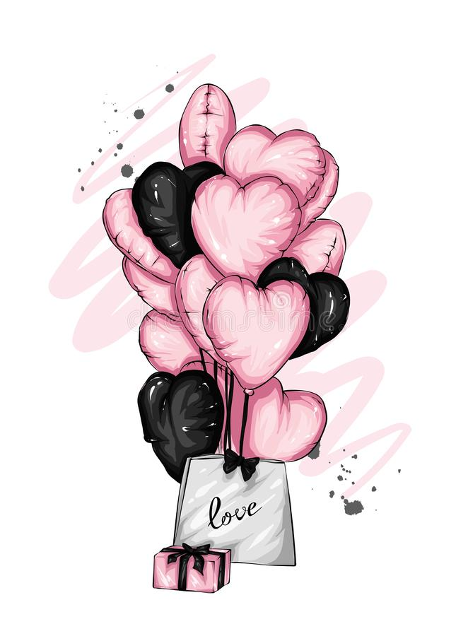Many balloons in the shape of a heart. Vector illustration. St. Valentine`s Day. stock illustration