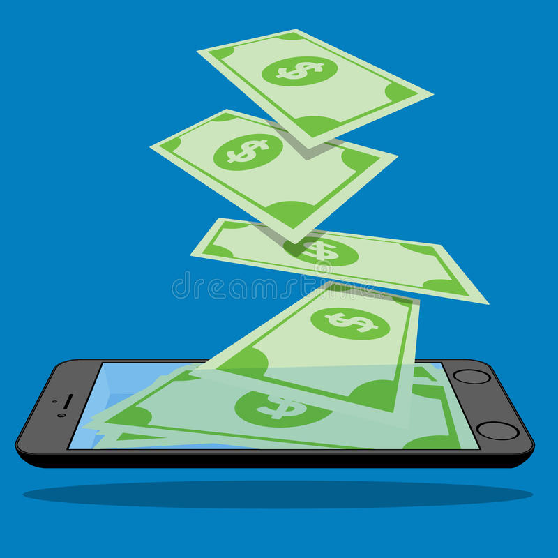 Many banknotes are falling into smart phones. Screen placed on the floor. Vector design stock illustration