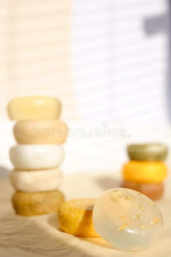 Many bars of colored scented handmade eco soap for skincare and body. stock image