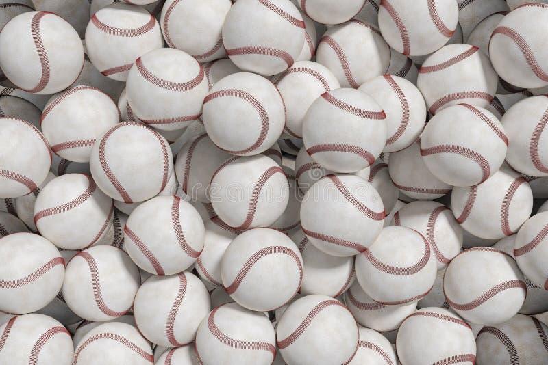 Many baseball or softball balls. 3D rendered illustration.  stock illustration