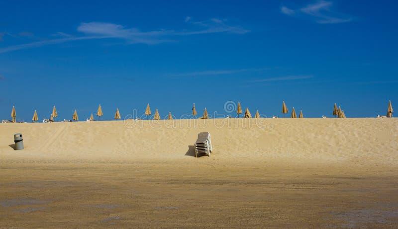 Many beach umbrella and chair on horizon line. Closed beach parasol on sky background. Tropic bay. Perfect seaside. Many beach umbrella and chair on horizon royalty free stock photos