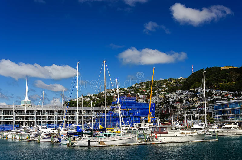 Many beautiful moored sail yachts in the sea port stock photo