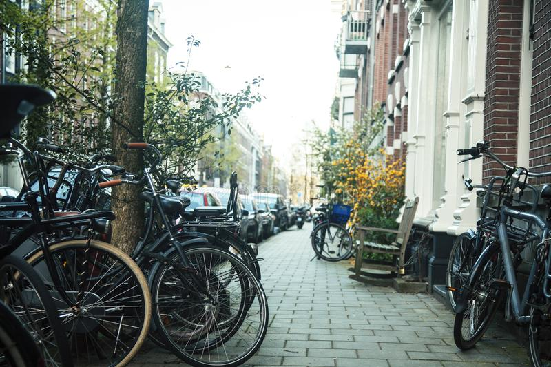 Many bicycles on street of Amsterdam city, parking ideal traffic eco healthy lifestyle concept at sunlight, health care. Many bicycles on street of Amsterdam royalty free stock image