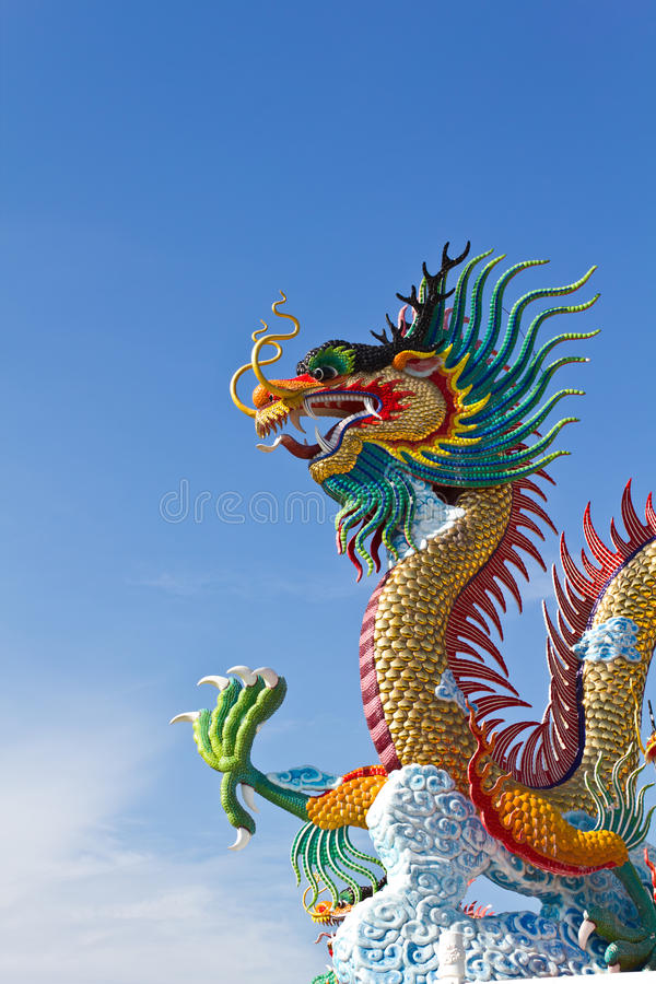 Many big dragons are color. A city is Nakolsawun, Thailand stock images