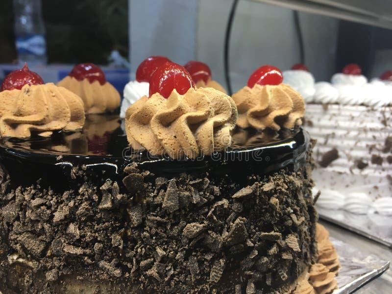 Many birthday cakes in the bakery stock photography