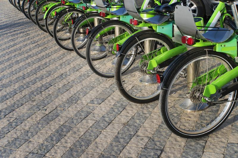 Many black and green bicycles in a row. Trends in bicycle-making industry. Group of cycles. Bike stand on parking for rent. Eco royalty free stock images