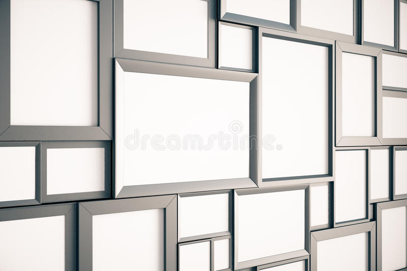 Many blank brown wooden pictures frames on the wall, mock up, 3D render stock illustration