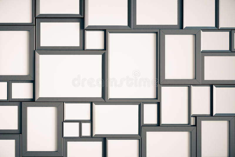 Many blank wooden picture frames on the wall. Mock up vector illustration