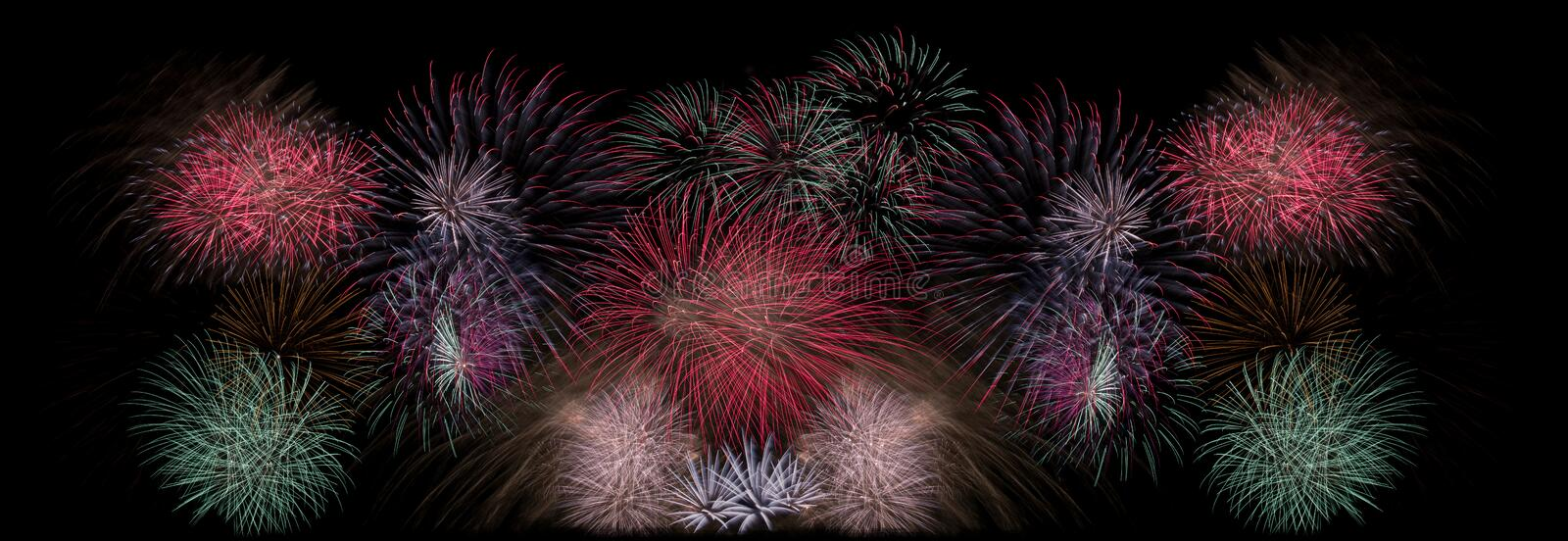Many blasts and flashes of fireworks stock photo