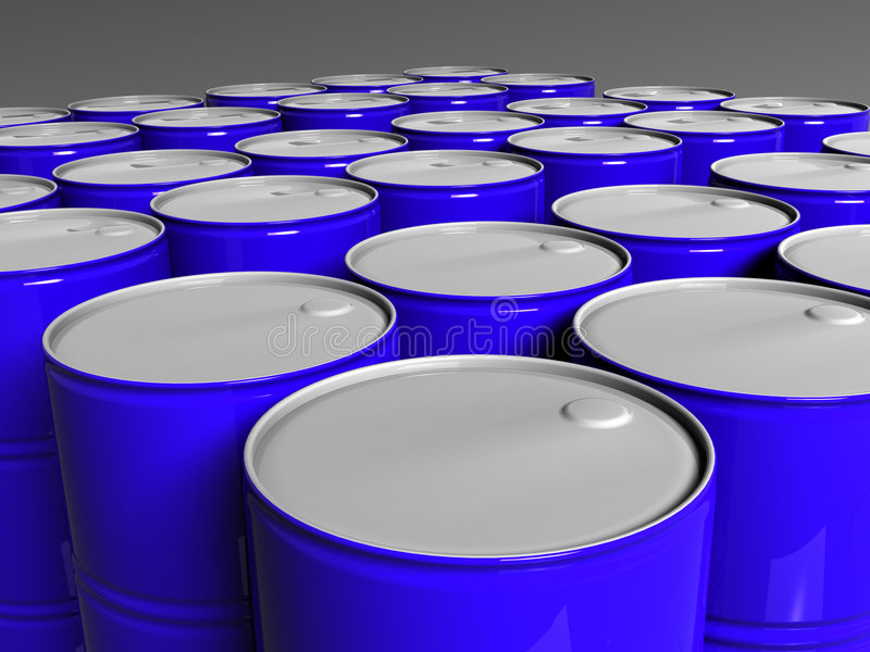 Many blue barrels royalty free illustration
