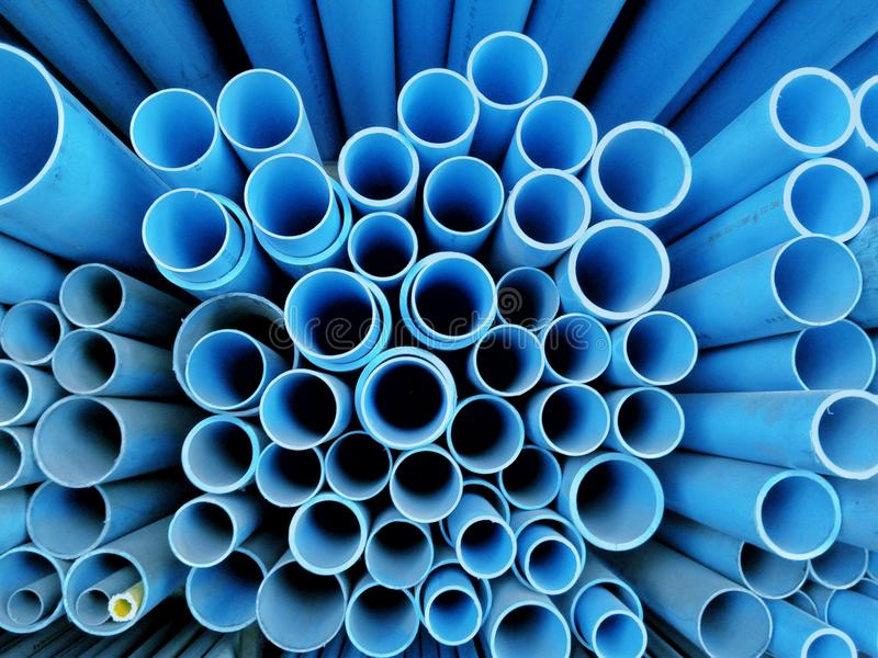 Many blue circle designs are made of plastic hose, royalty free stock photography