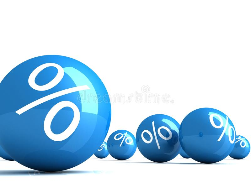 Many blue glossy spheres with percent signs stock illustration