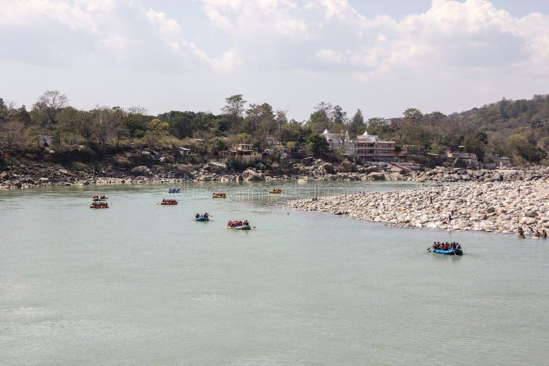 Many boats at Rishikesh stock image