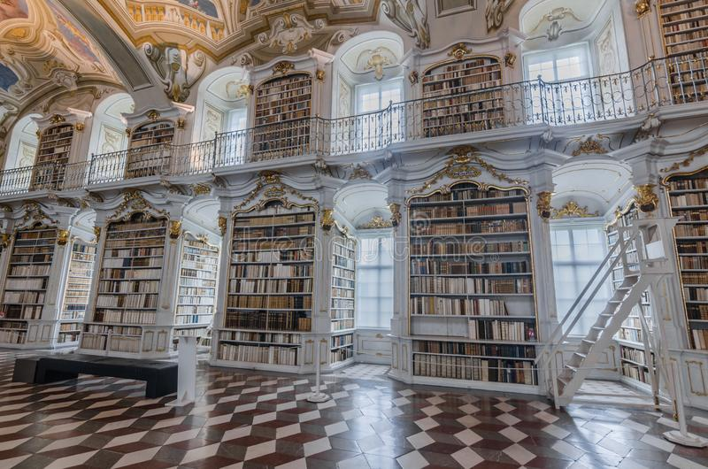 Many books in a abbey library. In admont stock photo