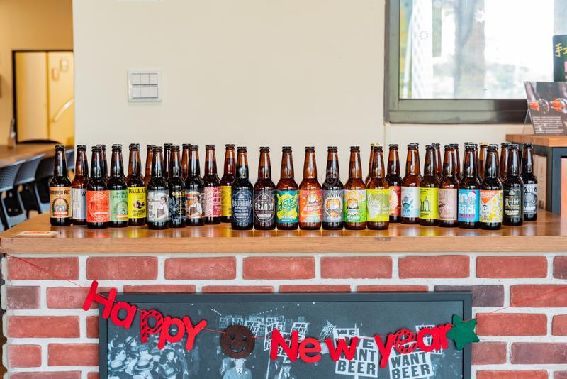 Many bottle of beers of the Jim & Dad\'s Brew Company. Yilan, JAN 5: Many bottle of beers of the Jim & Dad\'s Brew Company on JAN 5, 2019 at Yilan, Taiwan royalty free stock photos