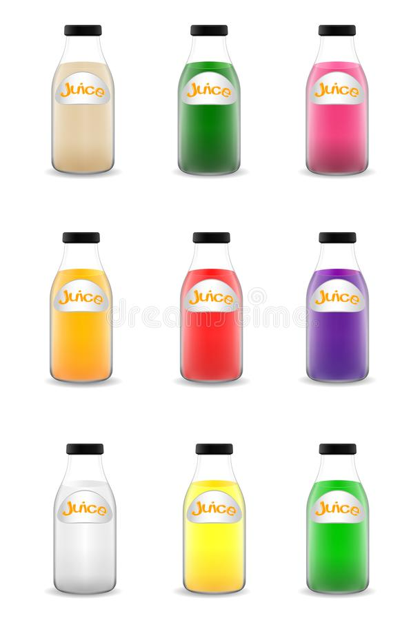Many bottle of juice. Illustration of many bottle of juice royalty free illustration