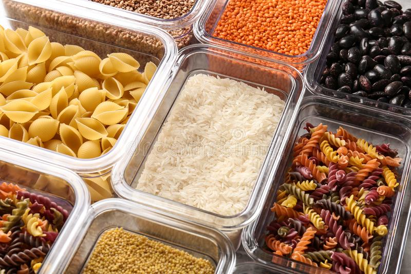 Many boxes with different raw food. Closeup stock photo
