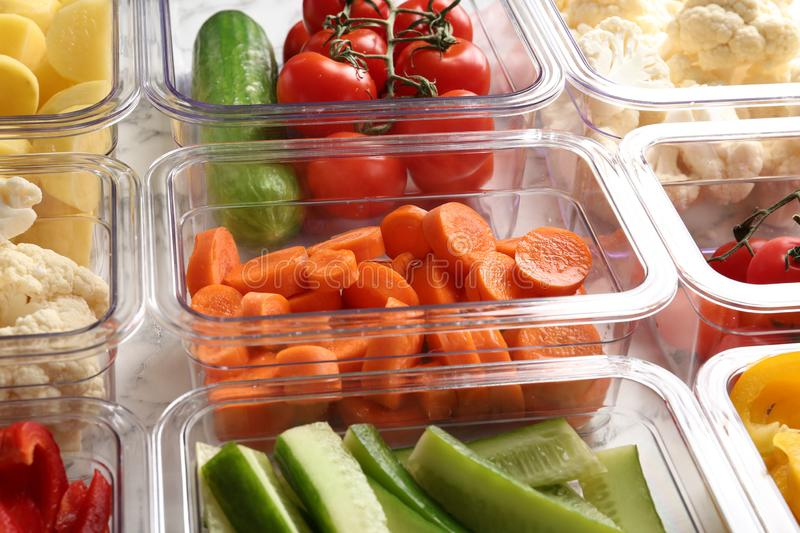 Many boxes with different raw vegetables. Closeup stock photography