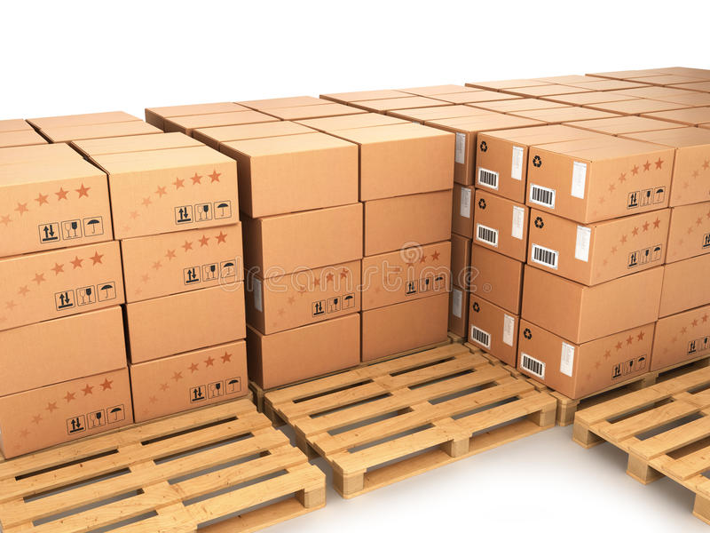 Many boxes stacked on pallets and empty trays vector illustration