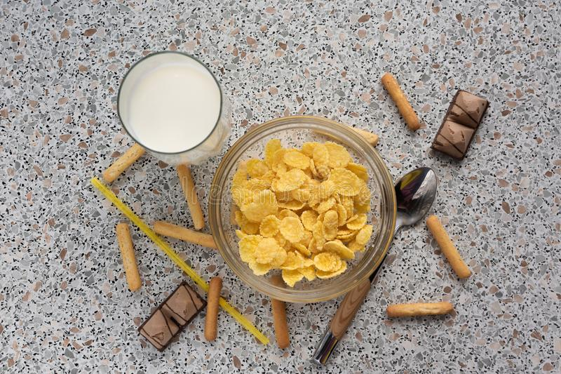Cereal with milk and candy stock photography