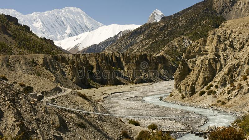 Many bridges in the Himalayan trails looks like th stock photos