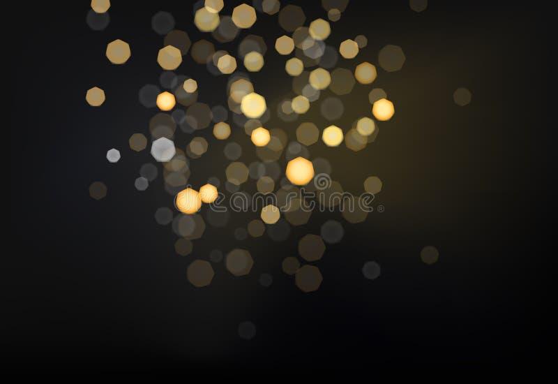 Many bright blured lights on dark background. Photo effect vector illustration stock illustration