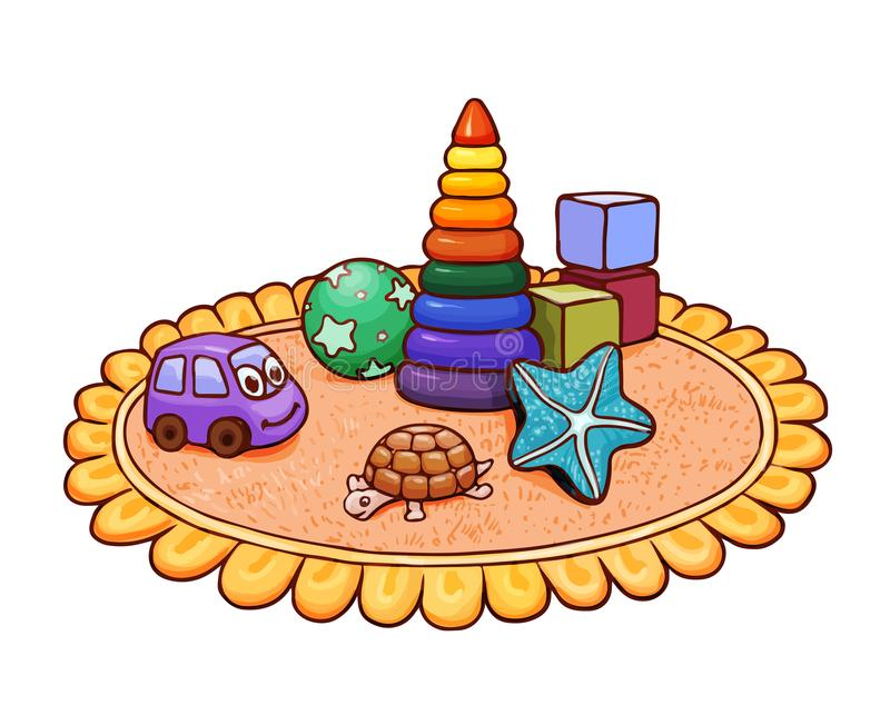 Many bright children`s toys on a round rug in the nursery. Vector illustration suitable for kids magazine or coloring. Cute bright illustration with many toys on stock illustration