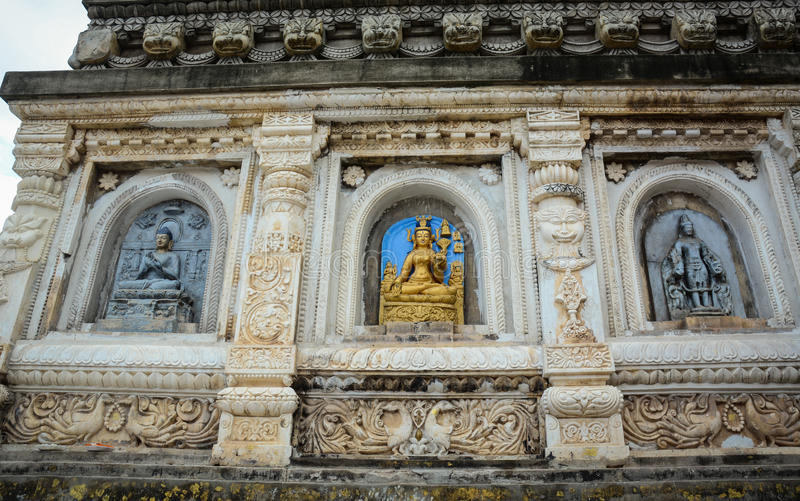 Many Buddhist statues at the Mahabodhi Temple Complex in Gaya, India.  stock image