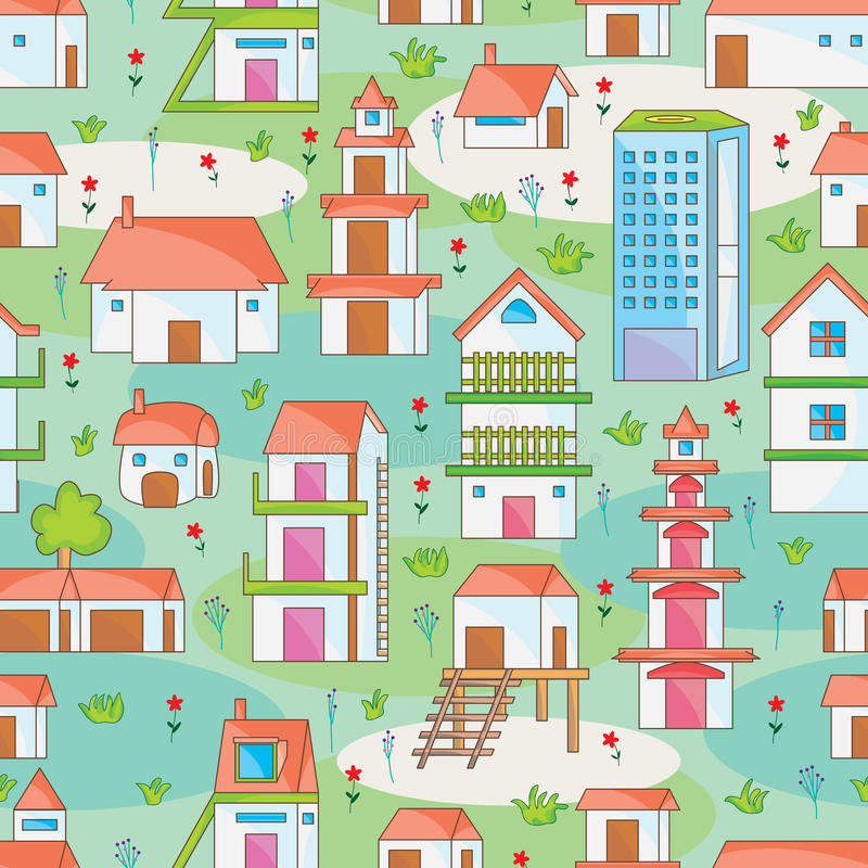 Download Many Building Seamless Pattern_eps Stock Vector - Illustration of cottage, background: 31055126