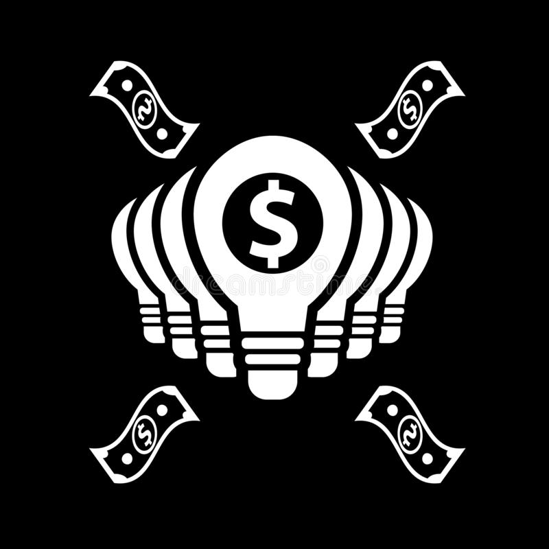 Many bulbs with many ideas for finance for web icons and symbols on a black background. And flat royalty free illustration