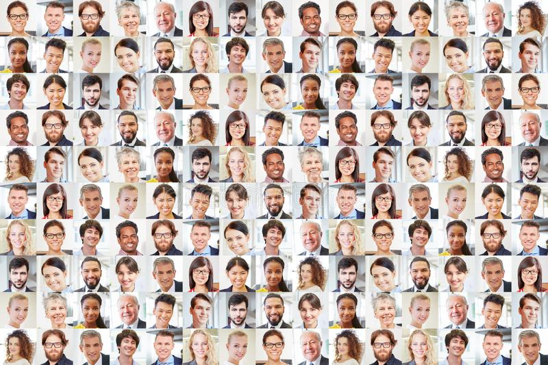 Many business people portraits together as teamwork stock images