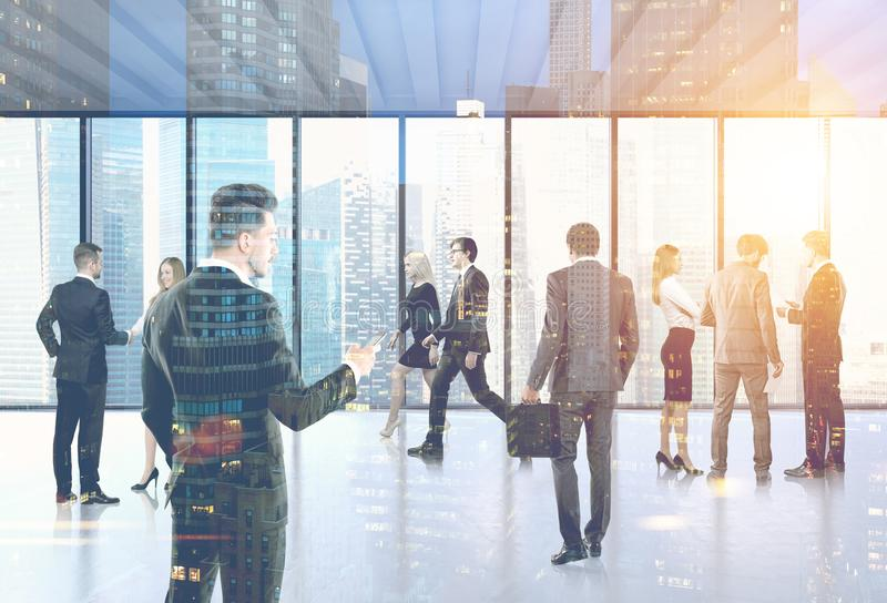 Business people in their office lobby, city. Many business people walking, talking and going to their workplace. Concept of a big corporation. A cityscape. Toned stock illustration